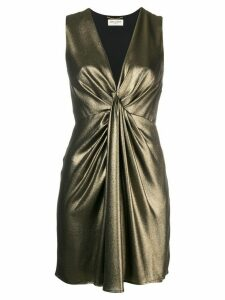 Saint Laurent draped v-neck dress - Metallic