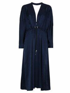 Jonathan Simkhai Santiago Silk Jacquard V Neck Dress - Blue
