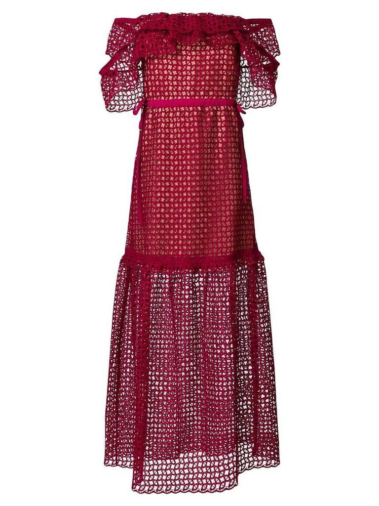 Self-Portrait off shoulder lace dress - Red