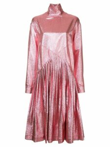 Cédric Charlier metallic flared long-sleeve dress - Pink