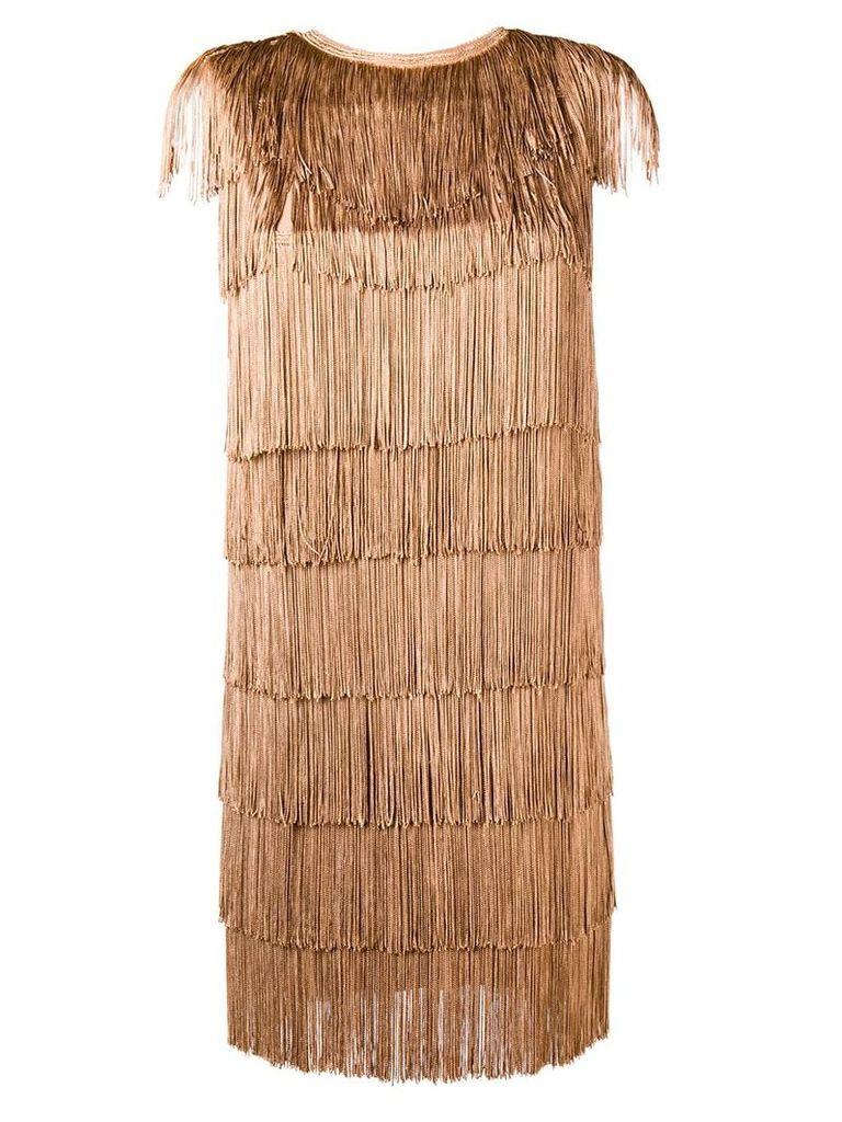 Norma Kamali all-over fringe mini dress - Brown