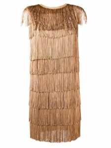 Norma Kamali all-over fringe mini dress - Brown