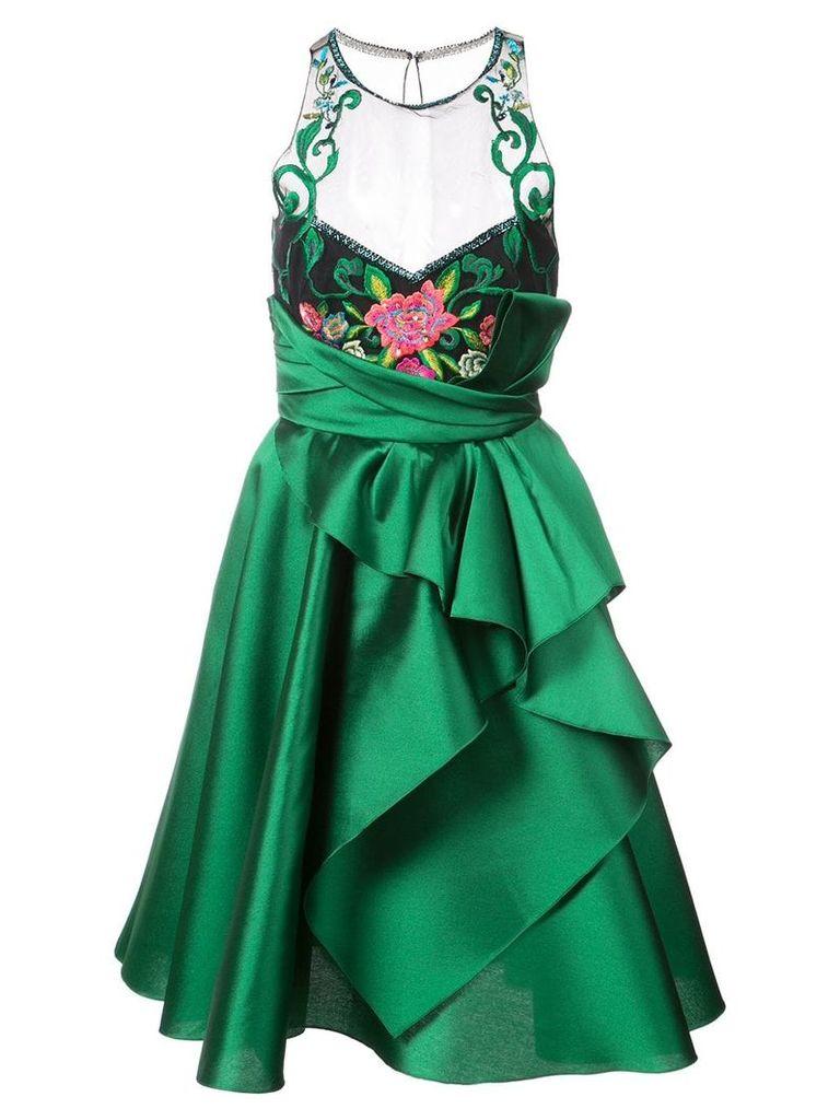 Marchesa Notte embroidered halterneck ruffled dress - Green