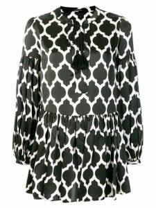 Wandering geometrical print flared dress - Black