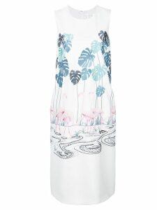 Victoria Victoria Beckham flamingo embroidered shift dress - White