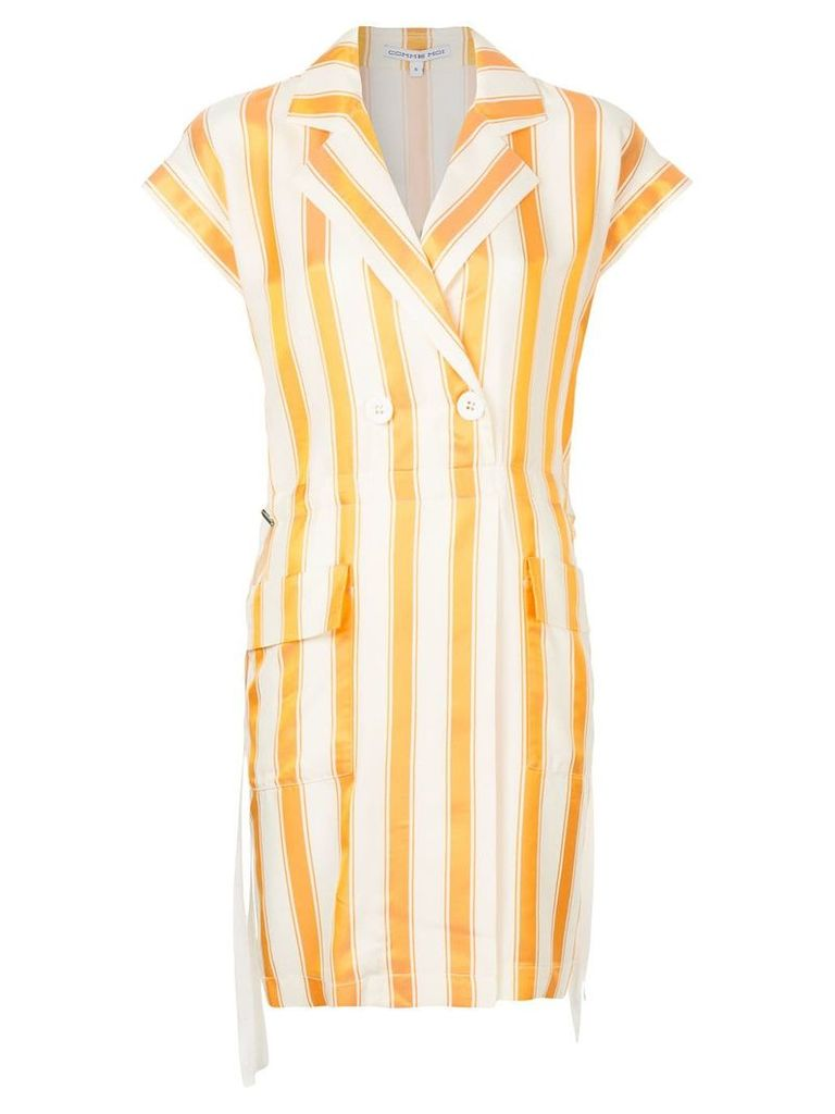 Comme Moi striped double breasted blazer - Yellow