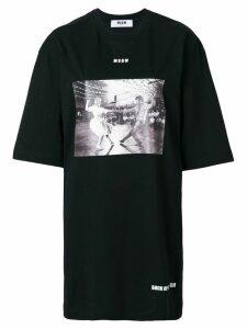 MSGM photographic print T-shirt dress - Black