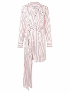 MSGM striped tie-side shirt dress - White