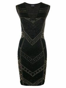 Just Cavalli intarsia-knit fitted dress - Black