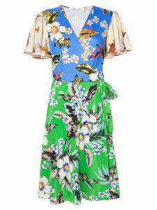 Diane von Furstenberg contrast print wrap dress - Blue