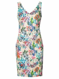 Nicole Miller Kenna tropical print V-neck dress - Brown