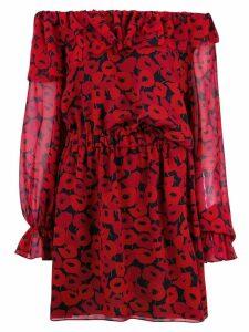 Saint Laurent poppy print dress - Red