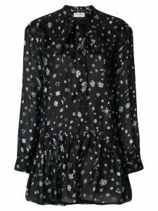 Saint Laurent printed tie neck mini dress - Black