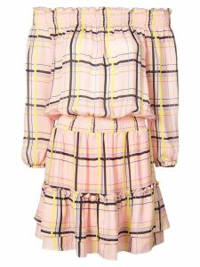 Nicole Miller electric plaid off shoulder dress - Pink