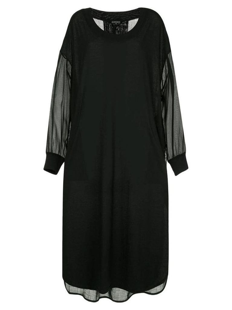 Ann Demeulemeester sheer dip-hem dress - Black