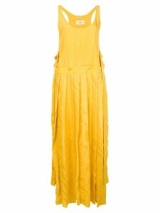 Ports 1961 pleated asymmetric-hem dress - Yellow