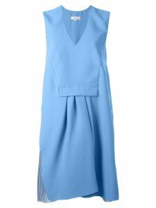 Carven pleated v neck dress - Blue