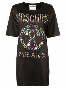 Moschino mirror embroidered logo dress - Black