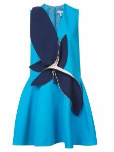 Delpozo contrast patch flared dress - Blue