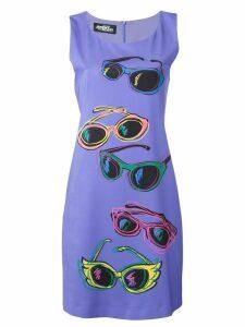 Jeremy Scott sunglasses print fitted dress - Purple