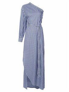 Rosetta Getty checked one shoulder dress - Blue