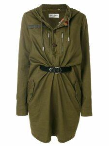 Saint Laurent hooded parka dress - Green