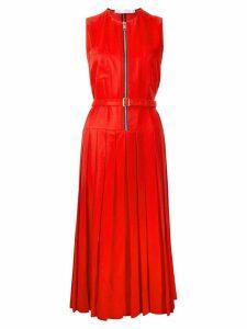 Victoria Beckham zip front pleated dress - Red