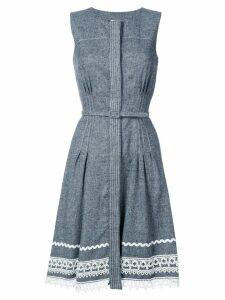 Oscar de la Renta belted dress with detailed hem - Blue