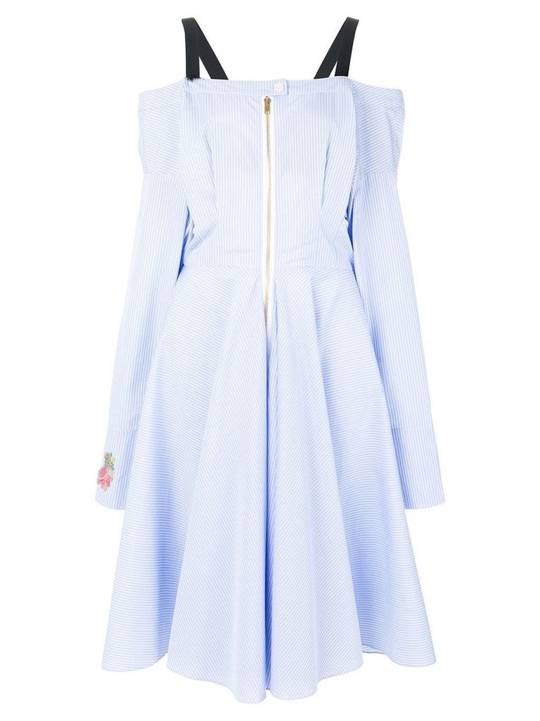 Natasha Zinko sequin appliqué sleeve striped dress - Blue