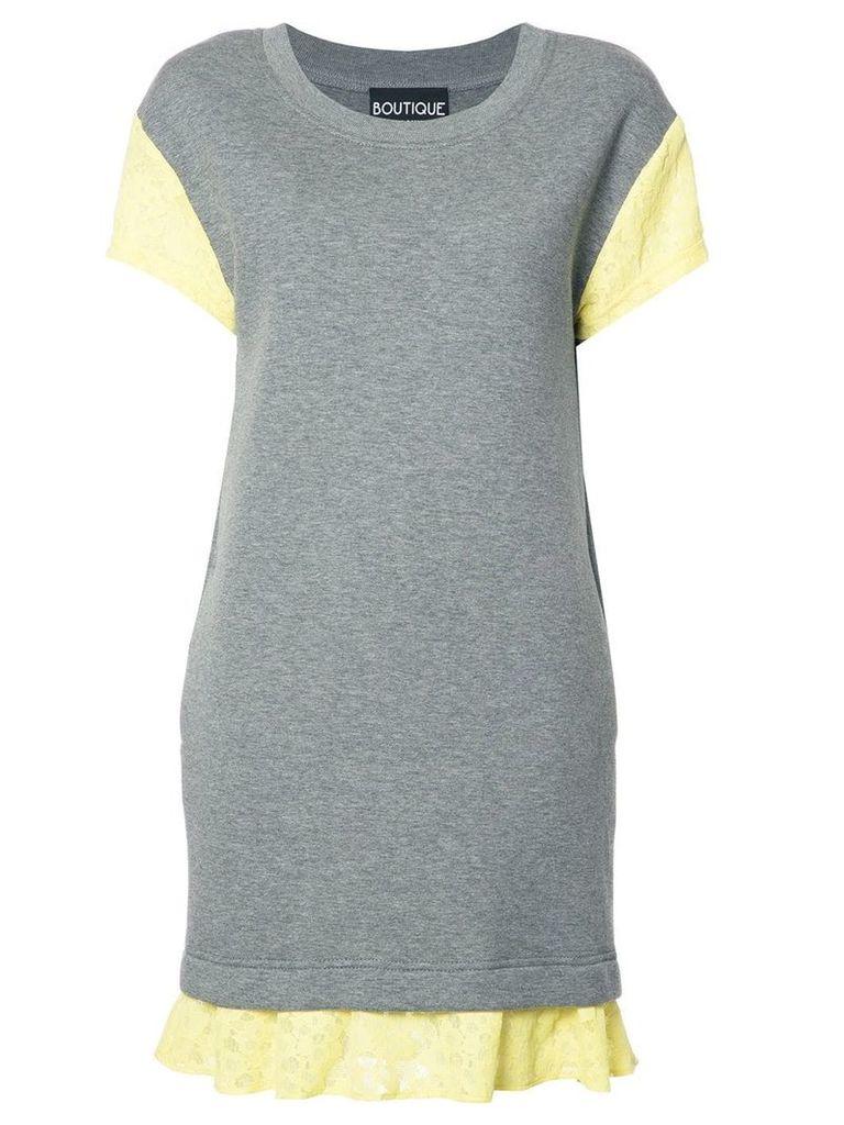 Boutique Moschino lace detailing T-shirt dress - Grey