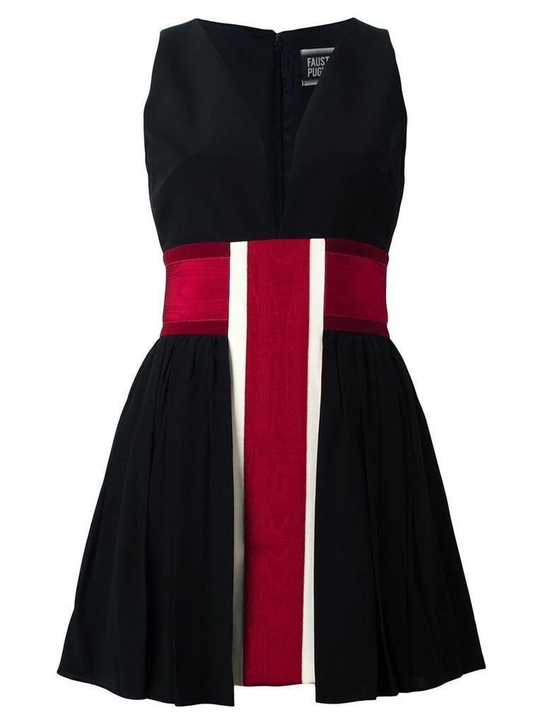 Fausto Puglisi striped v neck dress - Black
