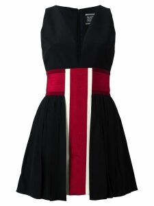 Fausto Puglisi striped v neck dress - Black