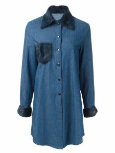 Liska fur trim shirt dress - Blue