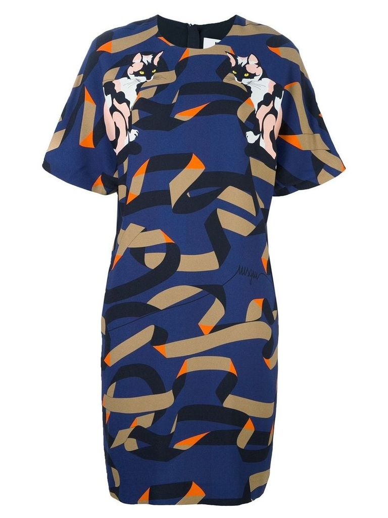 MSGM cat print shift dress - Multicolour