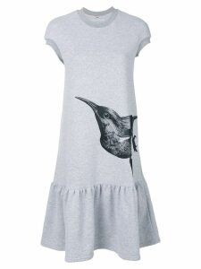 Ioana Ciolacu bird print T-shirt dress - Grey