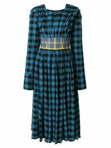 Natasha Zinko checked belted dress - Blue