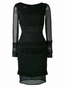 Talbot Runhof layered lace dress - Black
