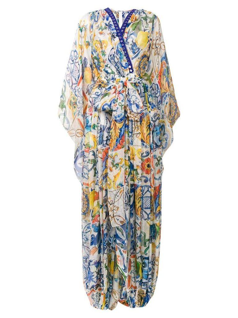 Dolce & Gabbana printed pleat maxi dress - White