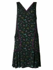 Coach floral print pleated dress - Black