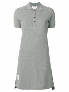 Thom Browne Striped Cotton Pique Polo Dress - Grey