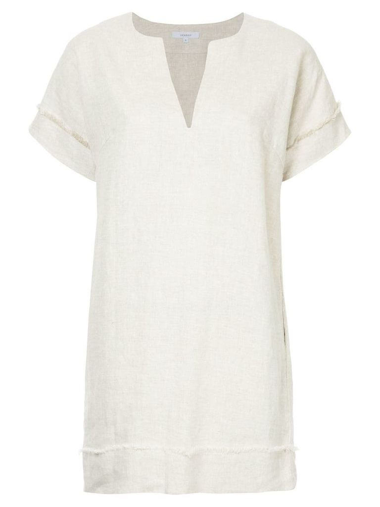 Venroy frayed detail shift dress - Neutrals