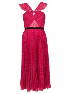 Self-Portrait polka dotted ruffled dress - Pink