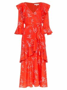 Borgo De Nor aiana ruffle print midi dress - Red