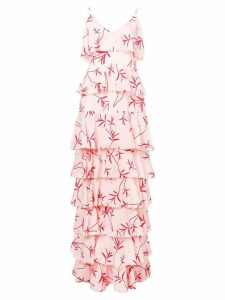 Borgo De Nor olive branch print ruffled tier dress - Pink