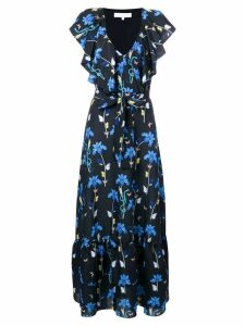 Borgo De Nor butterfly print ruffle trim dress - Black