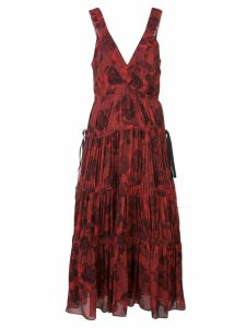 Proenza Schouler pleated neck empire dress - Red