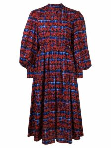 MSGM printed checked dress - Red