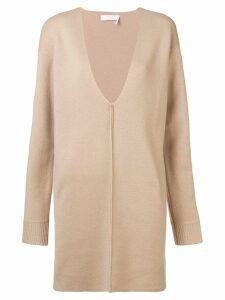 Chloé V-neck mini sweater dress - Neutrals