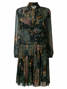 Alberta Ferretti tie neck long sleeve dress - Black