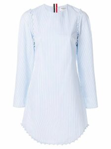 Thom Browne University Stripe Bridal Button Dress In Poplin - Blue